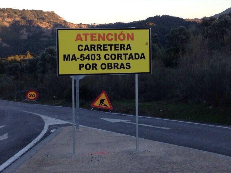 Carretera cortada en El Chorro