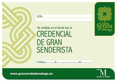Credencial del Gran Senderista: La Gran Senda de Málaga